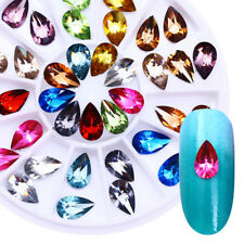 Colorful Crystal Gems Rhinestones Tear Drop Flatback 3D Nail Art Decoration Tips