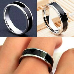 6mm Stainless Steel Black Silver Mens  Womens wedding Band - Ring Size L to Z