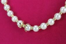 Ladies Vintage 14k Yellow Gold Saltwater Cultured Akoya 6mm Pearl Necklace GMD