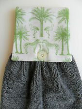 Hanging Hand Towel, GreyTowel with Green Zebra Fern Print Cotton Fabric