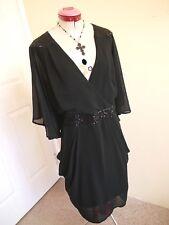CITY CHIC Black Drape Sequin DRESS Size L 20 Cocktail Evening Party V-Neck Lined