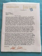 LETTER *SIGNED BY HARLAN ELLISON*