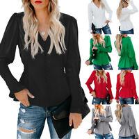 Womens V-Neck Long Sleeve Blouse Ladies Casual Slim Fit Peplum Top Plain T-Shirt