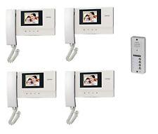 Commax 4-Apartment Building Video Door Intercom Set w/Vandal Proof Door Camera