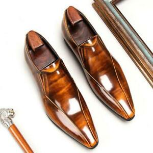 Men Fashion Pointy Toe Patent leather Slip On Leather Shoes Business Dress Shoe