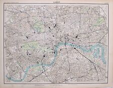 1897 VICTORIAN ANTIQUE MAP LONDON PLAN ISLINGTON STATIONS TOWER HYDE PARK MUSEUM