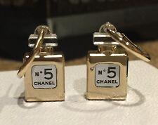 CHANEL No. 5 Perfume Bottle hoop pierced earrings in gold tone Fall 2012