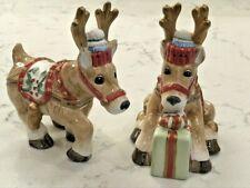 """Fitz And Floyd Reindeer Salt & Pepper Shakers """"Santas Flight"""" Retired 2003"""
