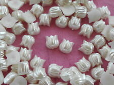 "100! Cute Pearl Tulip FLower Flatback Embellishments  - 6mm/0.25"""