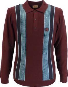 Gabicci Vintage Oxblood Multi Stripe Knitted Polo