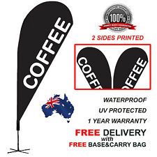 4.5m BLACK COFFEE Teardrop Flag Banner Kit Outdoor CPBLK310