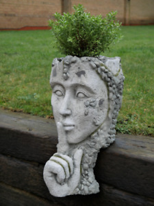 Ornate Head Planter PLANT POT Finger On Lips Garden Ornament Lawn Sculpture gift