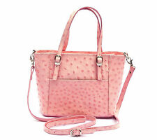 Mini-Bag echt Leder Tasche Schultertasche Cross Body PINK Strauß Made in Italy