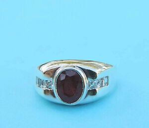 Men's 2 Carat Genuine Oval Ruby & White Topaz Ring ~ Sterling Silver