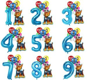 Paw Patrol Chase Birthday Party Latex Balloons Number Decorations