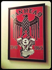 Panhead Engine & Eagle Framed Frame Biker Print Poster Chopper Vintage