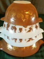 4pc. Vintage Pyrex Early Americana Cinderella Mixing Bowls White Brown