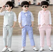 3pcs Kids Boy Formal Wedding Suit Vest+Shirt+Pants Concert Party Costume Clothes