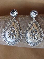 Navajo Indian Sterling Silver Hand Stamped Earrings by Eugene Charley