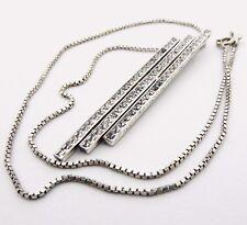 Necklace Sterling Silver Art Deco Pendant Necklace With Pave Set Paste Stones