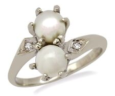 Victorian Era Pearl 6.0 mm Diamond Ring in 14k Solid Gold