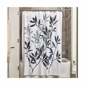 iDesign Leaves Fabric Shower Curtain, Modern Mildew-Resistant Bath Curtain fo...