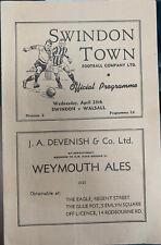 More details for swindon town v walsall 1947/48