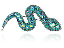 Green Crystal Rhinestone Python Serpent Slither Snake Costume Pin Brooch Gifts