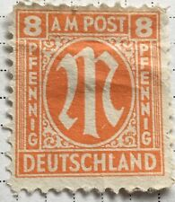 Germany stamps - Allied Military 'M' in Circle  1945 8 German reichspfennig