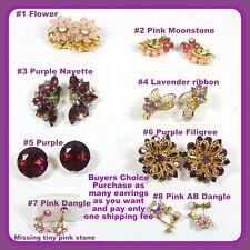 Vintage GLITZ Earrings\u2022Pink and Purple 004