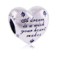 Genuine Pandora Silver Disney Cinderella Heart Charm 791593CFL Authentic