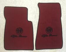 Autoteppich Fußmatten für Alfa Romeo Spider 1983-94 dkl.rot Logo Schrift Velours