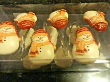 new 12 pc Shower Curtain Hooks~Snow Man shaped Christmas Winter Holiday festive