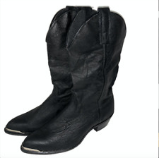 CAPEZIO Black Leather Embossed Cowboy Western Boots Womens Sz 7 M USA Toe Plates