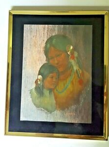 """Vintage Print Native American Mother And Daughter Framed W/ Glass Front 8"""" x 10"""""""