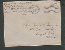 WWII cover Theresa M O'Lone RM 2/c Bg 22 US Naval Repairs Baee New Orleams to MI