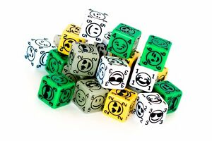 Emojie Dice 4x D6 Yellow, Green, Glow in the Dark, White 6 sided board game dice