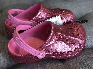 Crocs baya glitter clog k 205911-669 Pink Girl's Us J2 Eur 33-34 Nwt
