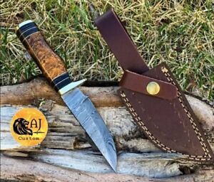 Custom HAND FORGED DAMASCUS STEEL HUNTING KNIFE W/ Resin Brass Guard Handle