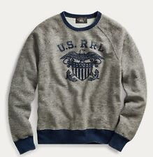 $225 RRL Ralph Lauren Vintage Naval Cotton Blend Fleece Sweatshirt-MEN- XL