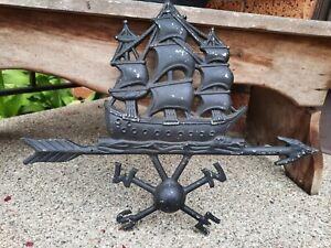 Vintage EMIG 1249 Black Cast Metal Ship Clipper Boat Nautical Compass Points