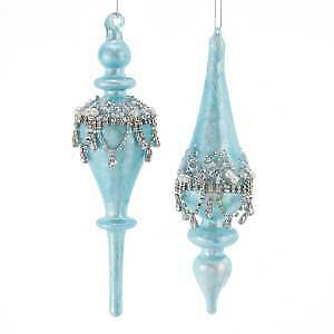 Set of 2 Glass Blue Finial Ornaments w