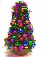 "SALE! Bright Jewel Tone TableTop Tree Christmas PreLit 24"" Colored Lights"