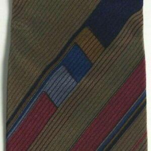 Skinny Brown Blue Striped PIERRE CARDIN Silk Tie