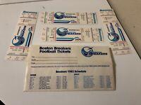 1983 USFL Boston Breakers vs. Denver Gold  Football: 4 Unused Tickets & Envelop!