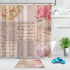 Romantic Rose Flowers Heart Pattern Bathroom Polyester Fabric Shower Curtain Set