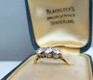 Antique 18ct Yellow Gold .60ct Old European Cut Natural Diamond Trilogy Ring O