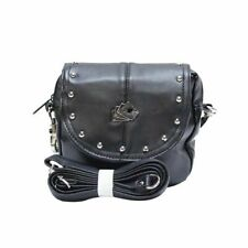 Women's Shoulder Belt Bag with Dead Man's Hand & Studs