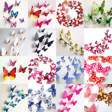 12pcs Papillon 3D PVC Art Design Decal Stickers Muraux Foyer Chambre Déco