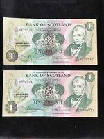 1977 And 1978 Bank of Scotland One Pound Sterling Banknote